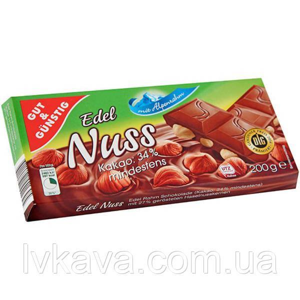 Молочный шоколад Edel Nuss , 200 гр