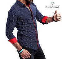 Мужская рубашка синего цвета с красными вставками, фото 1