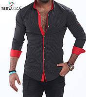 Мужская рубашка черного цвета с красными вставками, фото 1