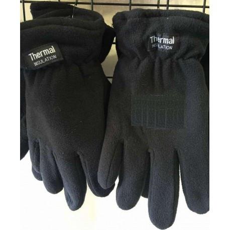 Мужские двойные чёрные перчатки из флиса