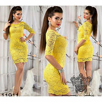 Платье женское гипюровое 434-5 желтое,интернет магазин платьев
