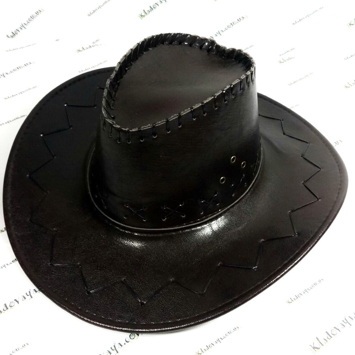 Ковбойская шляпа (коричневая), кожзам р-р 54-59, фото 1
