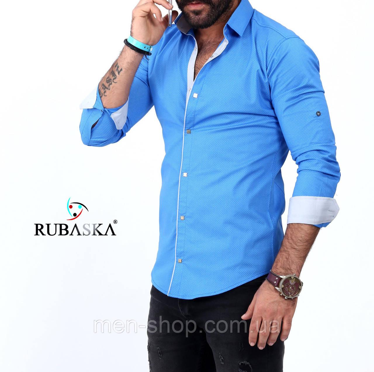 Стильная мужская рубашка голубого цвета