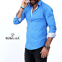 Стильная мужская рубашка голубого цвета, фото 1