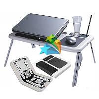 Складной столик для ноутбука LD-09 E-TABLE, столик с охлаждением 2 USB кулерами, столик трансформер