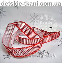 Лента красная для декора шириной 25 мм