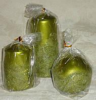 Свеча декорированная лепниной  10 см цвета зеленого яблока, фото 1