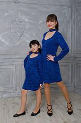 """Комплект платьев для мамы и дочери  """"Синий иний"""""""