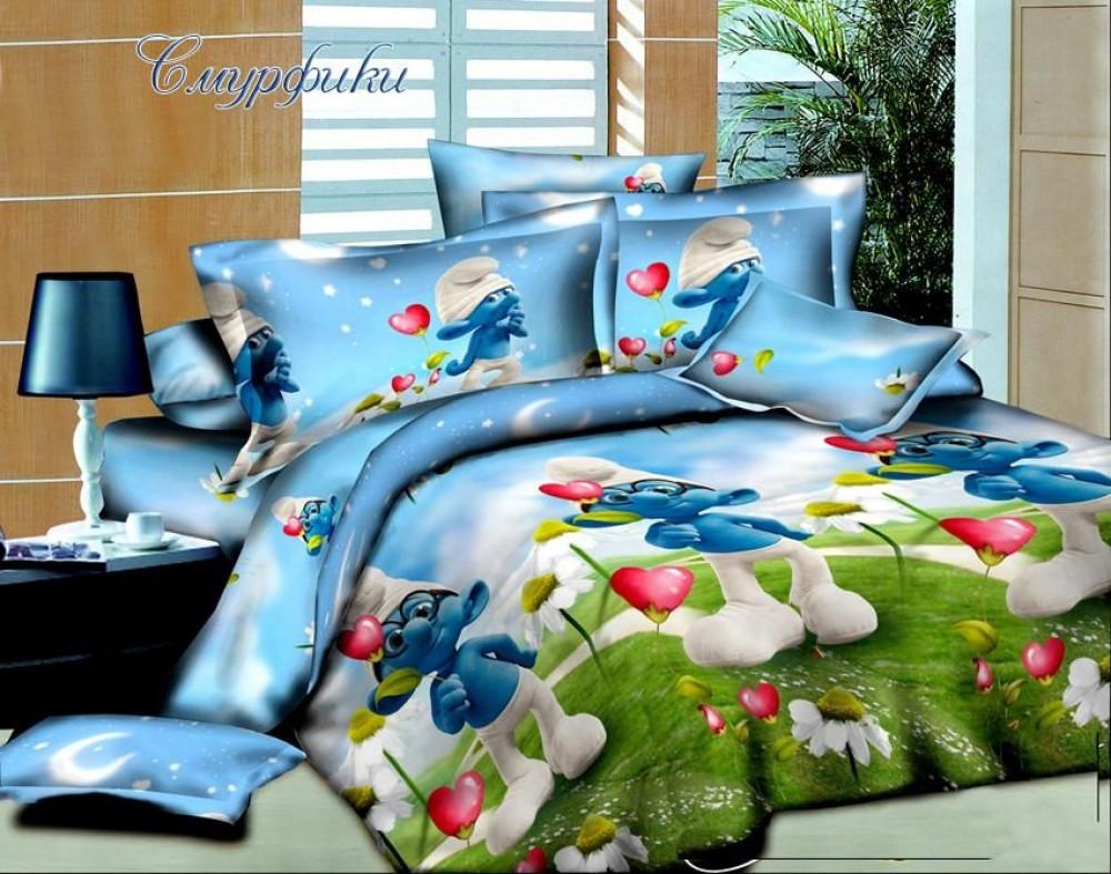 Подростковый комплект постельного белья Смурфики 2, ранфорс