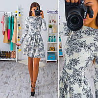 Короткое платье с пышной юбкой жаккард