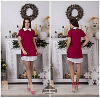 Женское стильное платье классика белый воротник \ ягодный
