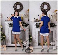 Женское стильное платье классика белый воротник \ электрик, фото 1