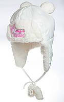 "Зимняя шапочка для девочки с помпонами ""Тэдди"""