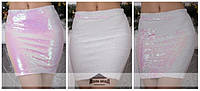 Шикарная женская юбка карандаш из пайеток хамелеон (розовая)