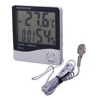 Термометр HTC-2 + выносной датчик температуры, многофункциональный прибор гигрометр, домашняя метеостанция