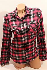 Женские рубашки в клетку байка VSA малина+черный+2-ая полоска