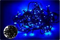 Чорний провід string 200 неон LED, синій K-4