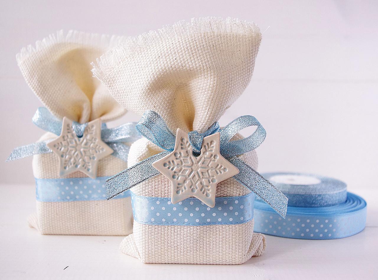 """Подарочный мешочек малый """"Голубые горошки со снежинкой"""", Ш110хВ170мм"""