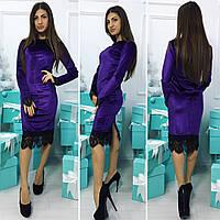 Красивое платье из велюра ,цвета