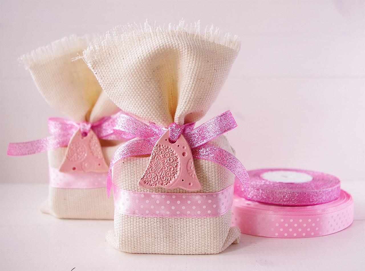 """Подарочный мешочек малый """"Розовые горошки с колокольчиком"""", Ш110хВ170мм"""