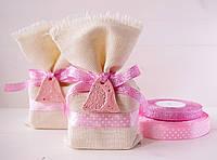 """Подарочный мешочек малый """"Розовые горошки с колокольчиком"""", Ш110хВ170мм, фото 1"""