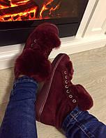 Женские зимние ботинки утеплённые флисом,меховой язык кролик.