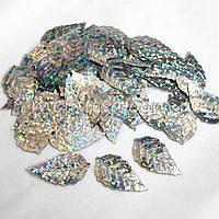 Пайетки Листья березы серебро, 25x14мм