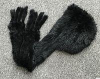 Меховая шапка шарф из кролика. Меховой капор