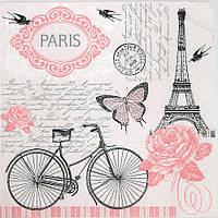 Салфетка для декупажа, Розовый Париж
