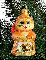 """Стеклянная елочная игрушка """"Котик с аквариумом"""" 1104"""