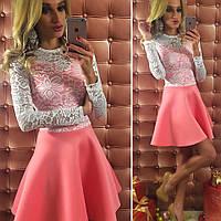 Платье из неопрена с кружевом, цвета