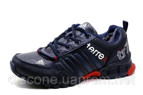 Зимние кроссовки Adidas Terrex, мужские, на меху, темно-синие с красным