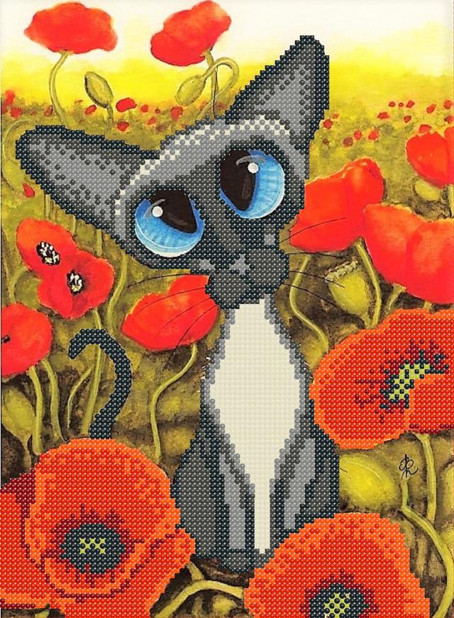 схема, вышивка бисером, кошка, осень