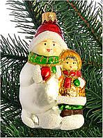 """Стеклянная елочная игрушка """"Снеговик и девочка"""" 1101"""
