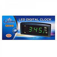 Электронные настольные Часы Caixing CX 818, сетевые часы, электронный будильник, электронные цифровые часы