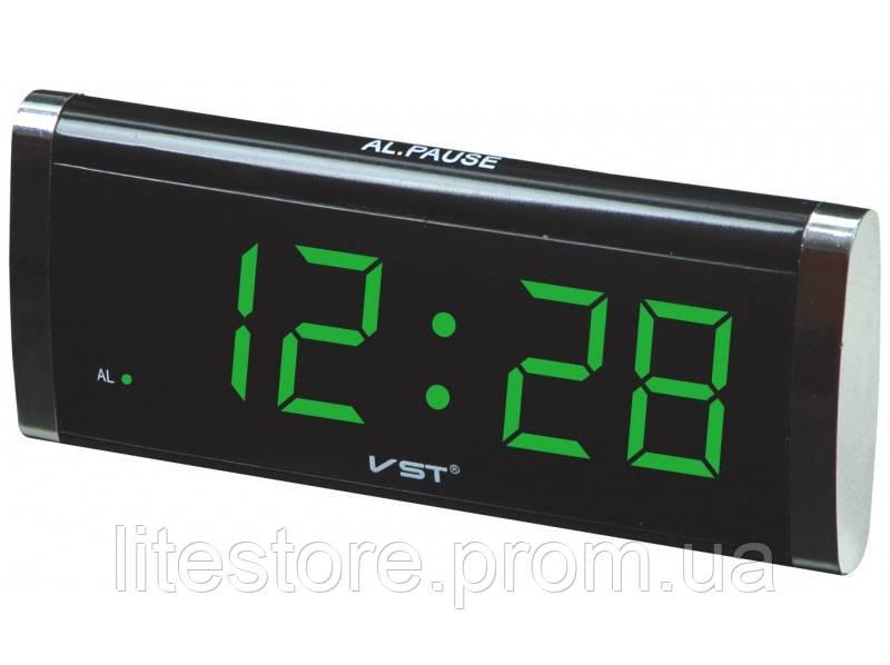 61289c98 Электронные Часы VST 730 green, цифровые настольные сетевые часы, led alarm  clock VST-