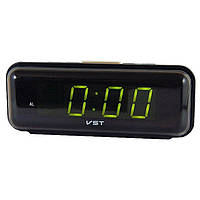 Часы VST 738 Green, настольные часы, часы с будильником, электронные часы, электронный будильник, сетевые часы