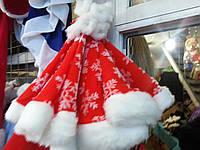 Шапка Деда Мороза мех со снежинками, фото 1