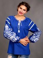 Женская вышиванка из синего льна