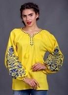 Вышиванка из желтого льна с синей вышивкой