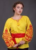 Желтая вышиванка красный орнамент