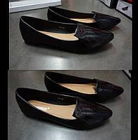 Красивые легкие балетки черного цвета с длинным носом!