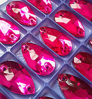 Стразы пришивные Капля 11х18 мм Fuchsia (малиновый), стекло, фото 1