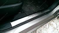 Накладки на пороги внутренние toyota Corolla (2013-   ) (тойота королла), 4 шт. логотип , нерж.