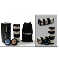 Термочашка в форме фотообъектива Caniam (Canon) EF 70-200 с чехлом Белая 350 мл
