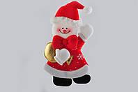 Новогоднее украшение из фетра Снеговик с красным бантом