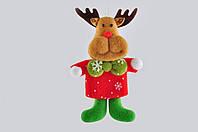 Новогодняя мягкая игрушка из фетра Олень с зеленым бантом