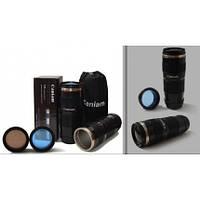 Термочашка в форме фотообъектива Caniam (Canon) EF 70-200 с чехлом Черная 350 мл