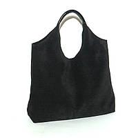 Небольшая женская кожаная сумка. Мод.15 черная замша