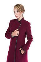 Молодежное модное зимнее кашемировое пальто с кожей Модель: Лорен